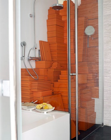 Martha Stewart's Editorial Director of Decorating, Kevin Sharkey, has his collection of Hermès boxes temporarily stored in the shower. #pinpantone #omg: Hermes Boxes, Hermes Inspiration, Favorite Color, Orange Hermè, Hermè Boxes, Orange Boxes, Chicago Style, Hermes Orange, Photo Shooting