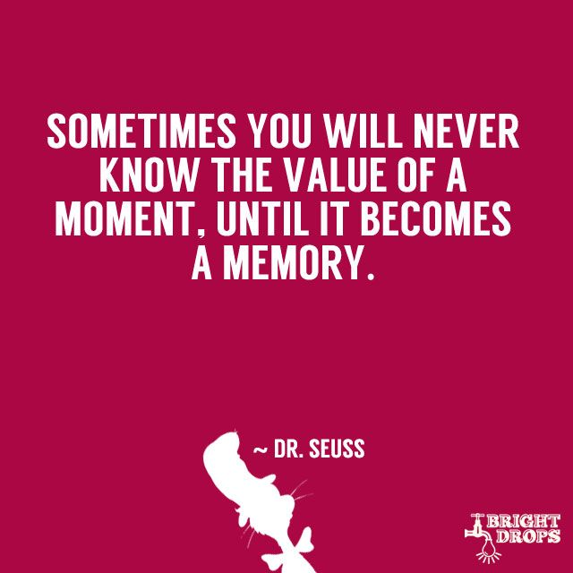 """Sometimes you will never know the value of a moment, until it becomes a memory."" ~ Dr. Seuss.   And that's too bad cuz sometimes it's too late by them to tell a person how special that moment was."