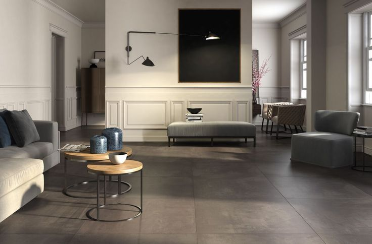 LaFaenza - Ego. A refined project where the resin-effect surface, with powdery colors, finds a new finish with the inlaid work of wood-effect ceramic elements. #Cersaie2015