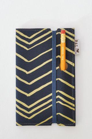 Navy Chevron Notebook - handmade with screen printed fabric in navy & gold chevron