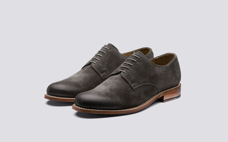 Finlay | Mens Derby in Bronze Burnished Suede on Leather Sole | Grenson Shoes - Three Quarter View