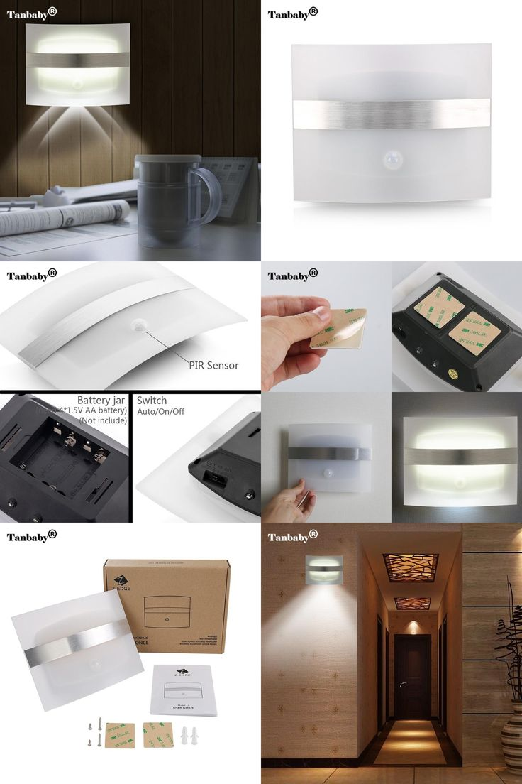 [Visit to Buy] Tanbaby Battery Operated Wireless Motion Sensor Activated LED Wall Sconce Night Light Auto On/Off for Bedroom Hallway Cabinet  #Advertisement