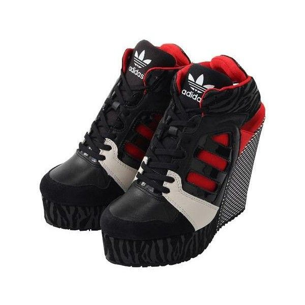 Womens Adidas Streetball Wedge Sneakers New, Black Red M25113 Selena... (1.754.280 IDR) ❤ liked on Polyvore featuring shoes, sneakers, red, adidas sneakers, adidas shoes, wedge trainers, adidas and black sneakers