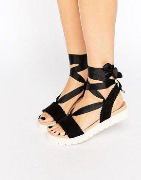 Miss KG Suedette Tie Up Footbed Sandal