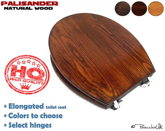 Soft close Elongated wood toilet seat (3 colors to choose)    Wooden toilet, Slow close, Rustic toilet seat for your bathroom