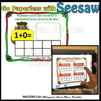 Seesaw Addition 010 Using a Ten Frame PNG Templates