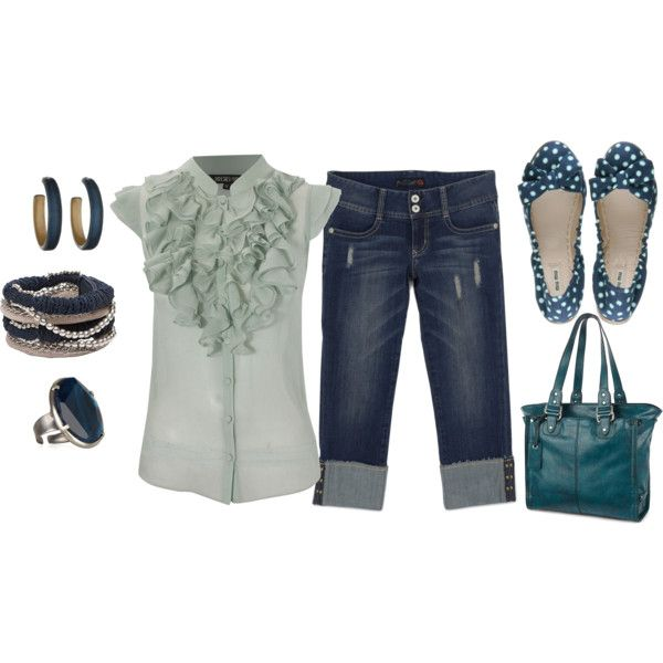 .Fashion, Weekend Outfit, Polka Dots Shoes, Style, Shirts, Clothing, Cute Summer Outfits, Flats, Feelings Blue