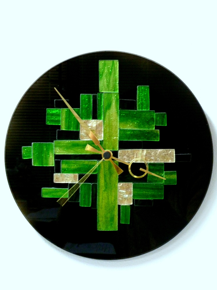 Fused glass clock inspirational glass pinterest for Fused glass wall clocks
