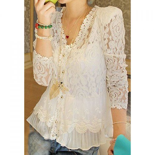 Elegant Openwork Long Sleeves Flouce Lace Women's Blouse, IVORY, ONE SIZE in Blouses | DressLily.com