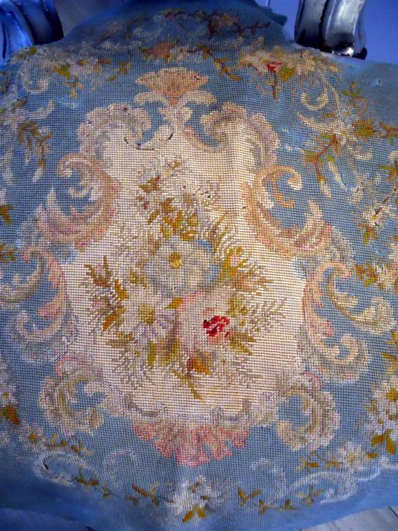 Needlpoint petitpoint French antique tapestry chateau