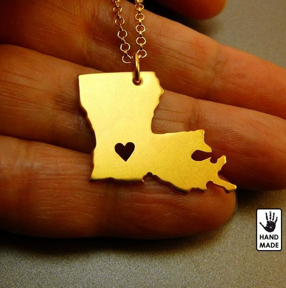 Gold LOUISIANA  STATE , Gold Plated 24k sterling silver necklace on Etsy, $55.00