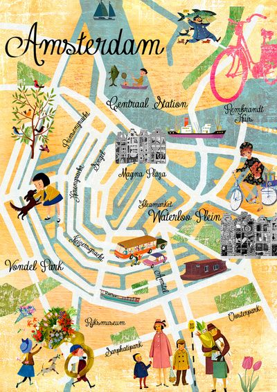 Vintage Amsterdam Map Collage poster print