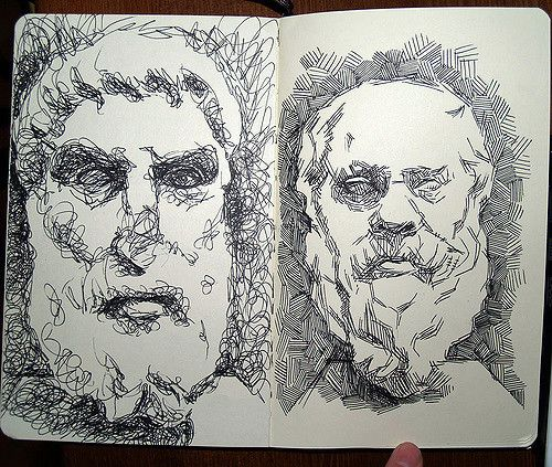 https://flic.kr/p/Cpa9g   sketchbook page   philosopher busts from Palazzo Massimo alle Terme, Rome