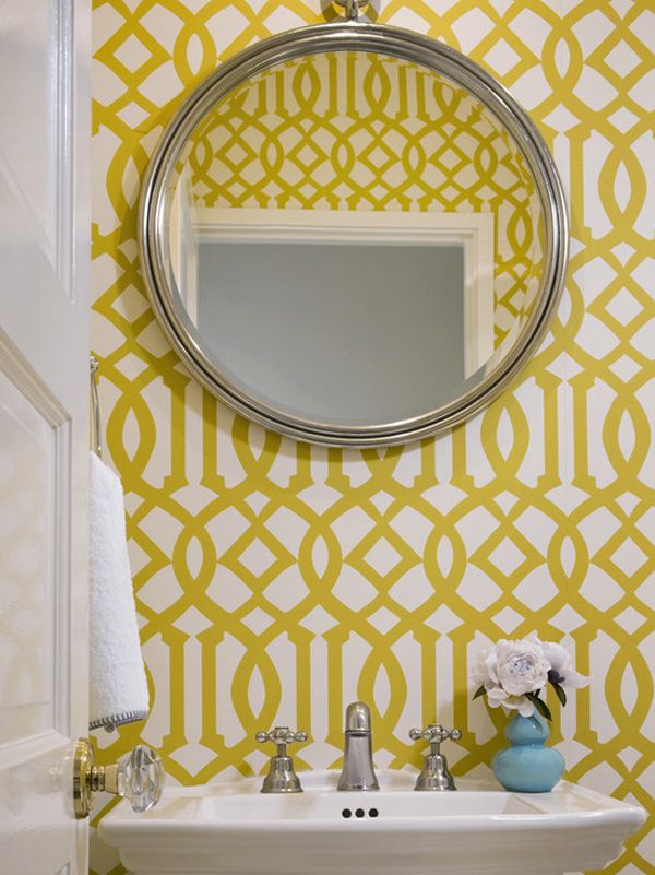 Yellow Wallpaper | Geometric Wallcovering | Powder Bathroom | Blue bud vase | DIY Makeover | Bath Update | Home Design #faucetsnfixtures