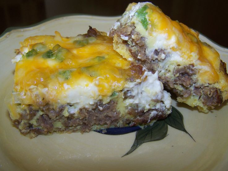 "Breakfast Casserole ""Low Carb"" sausage, cream cheese, & eggs. That's it! Bake at 350 for 30 min or till done. Doink this on X-mas morning."