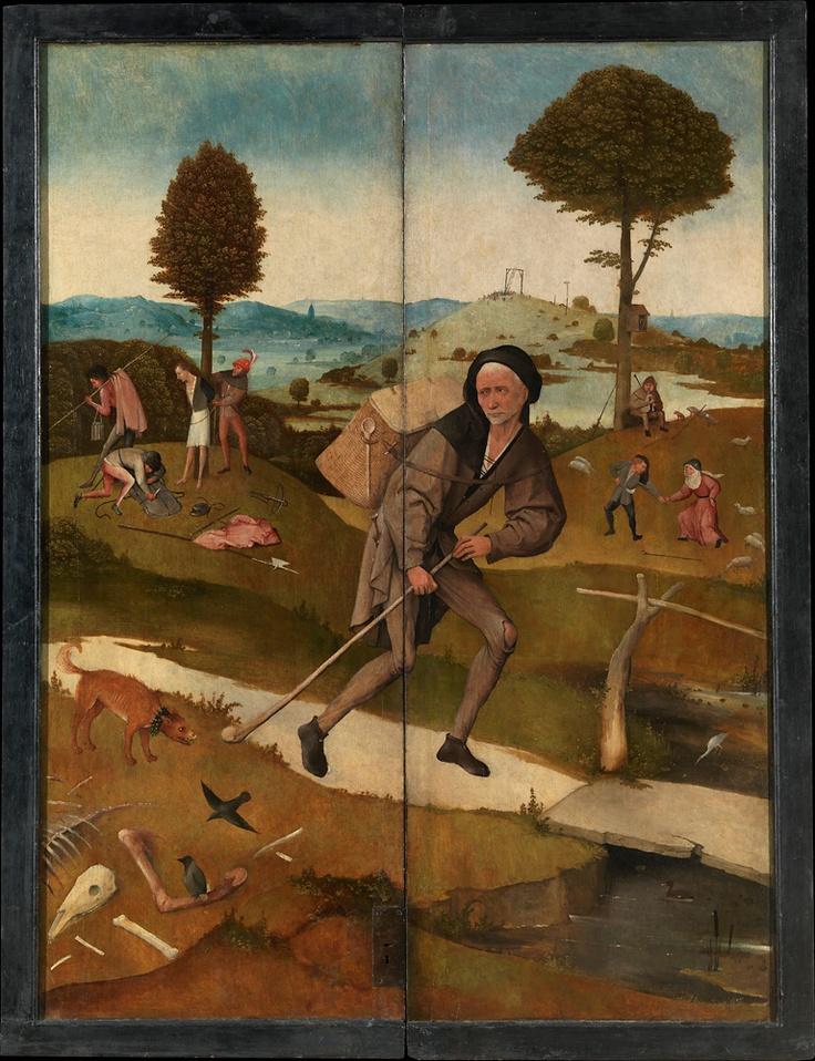 """""""El camino de la vida"""", puertas exteriores de """"El carro de heno"""", El Bosco, hacia 1515"""