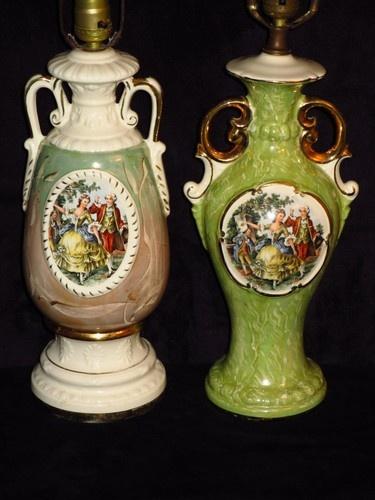 2 Antique Vintage Victorian Green Porcelain Table Lamps