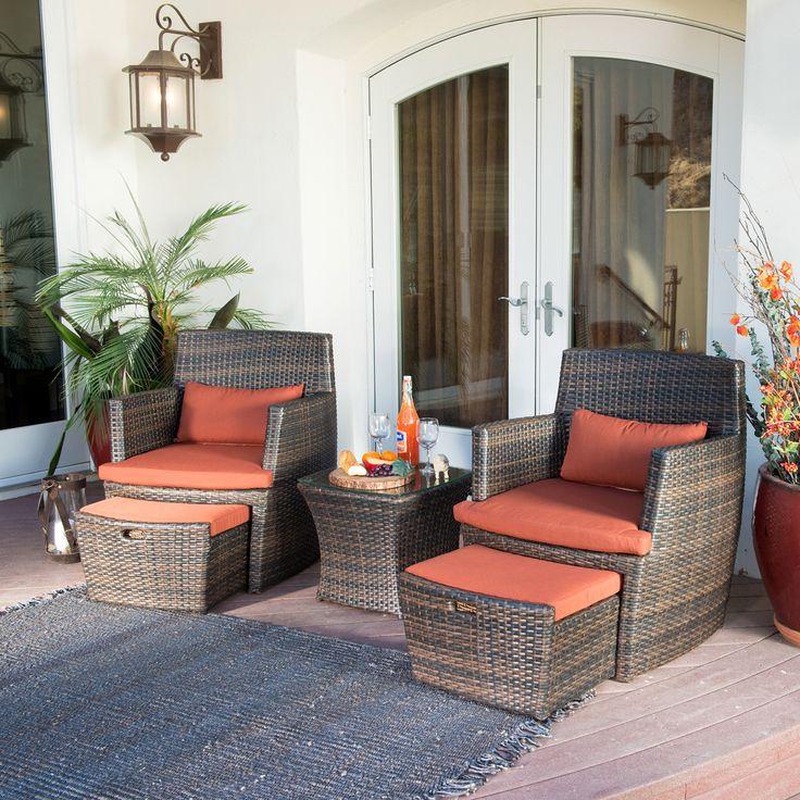 corvus bandio 5 piece outdoor wicker chat set bs008 brown size brown set patio source outdoor