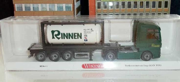 "053 601 Tankcontainersattelzug 20' (MAN TGX) ""Rinnen"" Wiking Modell"