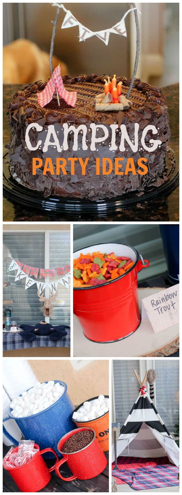 At this outdoor camping they are hanging out sipping hot cocoa! See more party ideas at CatchMyParty.com!