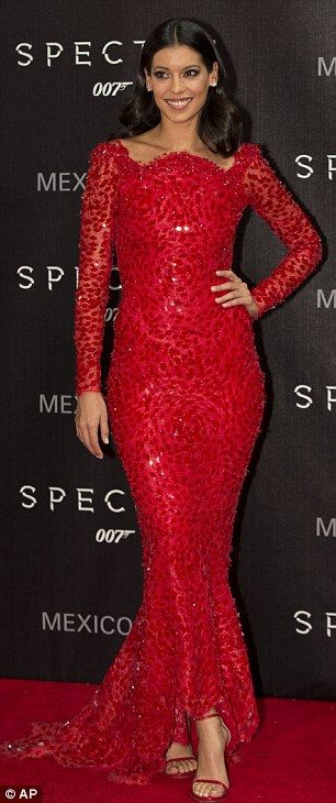Stunner: Stephanie Sigman dazzled in a red number, which she teamed with a pair of strappy sandals