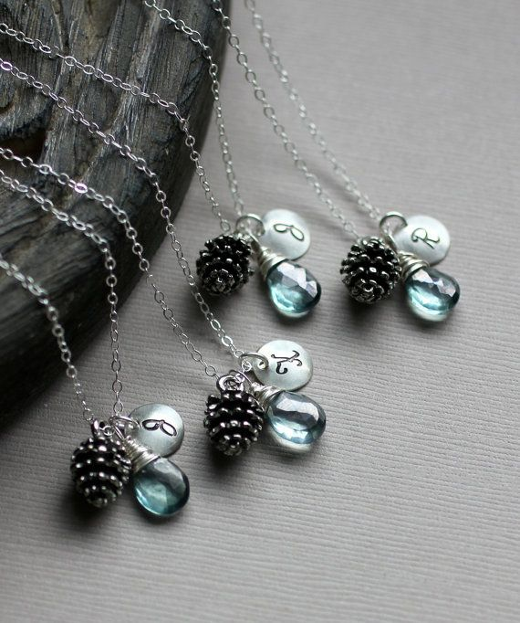 Bridesmaid Necklace Gift Set Three Autumn Wedding Winter Initial Custom