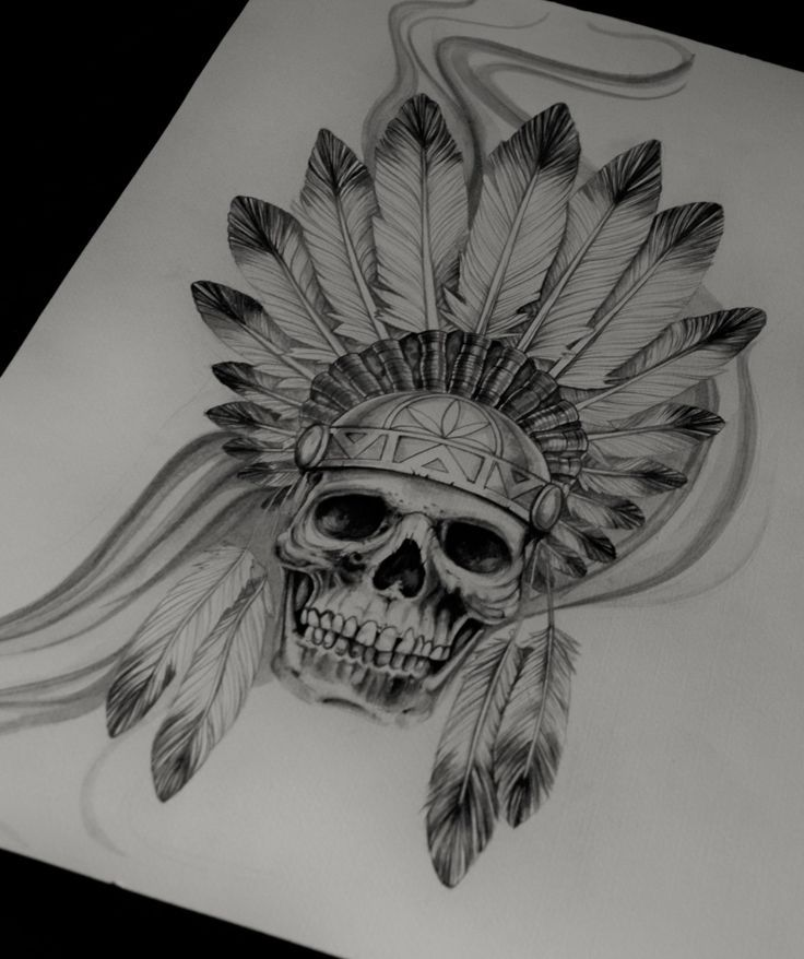 Indian Skull Tattoos on Pinterest | Indian skull American tattoos ...