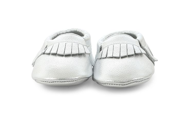 leather moccasins in silver