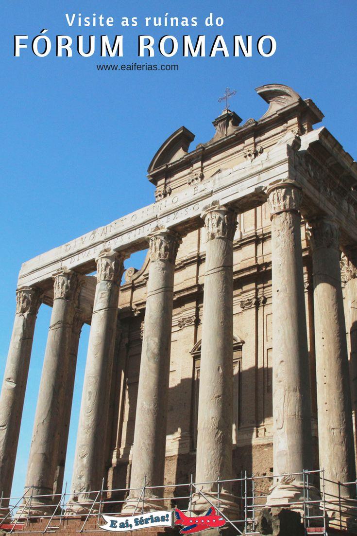 Sítio Arqueológico, ruínas do Fórum Romano, Roma, Itália. Templo de Faustina e Antonino.