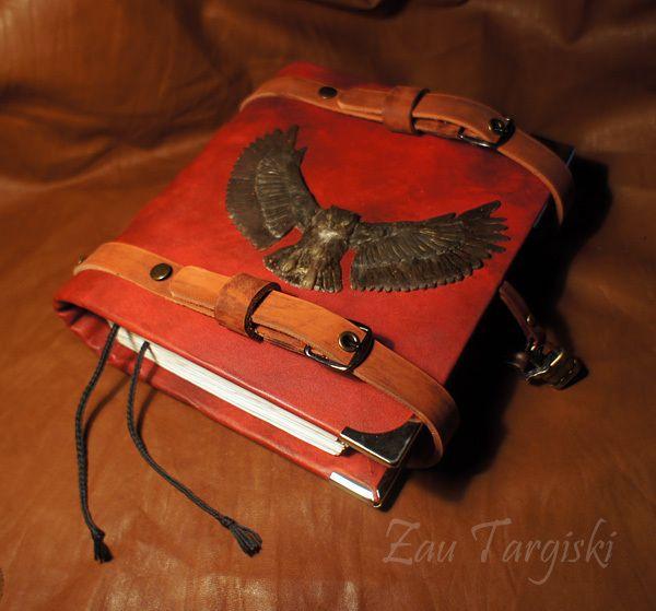 Купить Книга теней с филином - бордовый, филин, книга теней, гримуар, spellbook