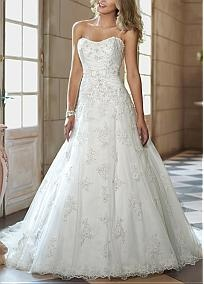 Magnificent Tulle & Satin A-line Strapless Slightly Scoop Neckline Natural Waist Beaded Wedding Dress With Lace Appliques #Dressilyme