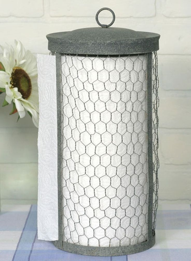 Classic Early American Country Primitive Chicken Wire Rustic Paper Towel Holder Great accent for any kitchen! Paper towel holder worthy of the finest homes! Stylish primitive Chicken Wire Rustic Early