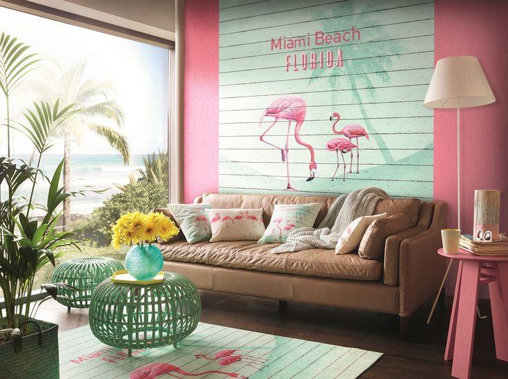 Flamingo Tapete Türkis Holz / Barbara Becker Wandbild 474404 / 2.25 M *  3.00 M In