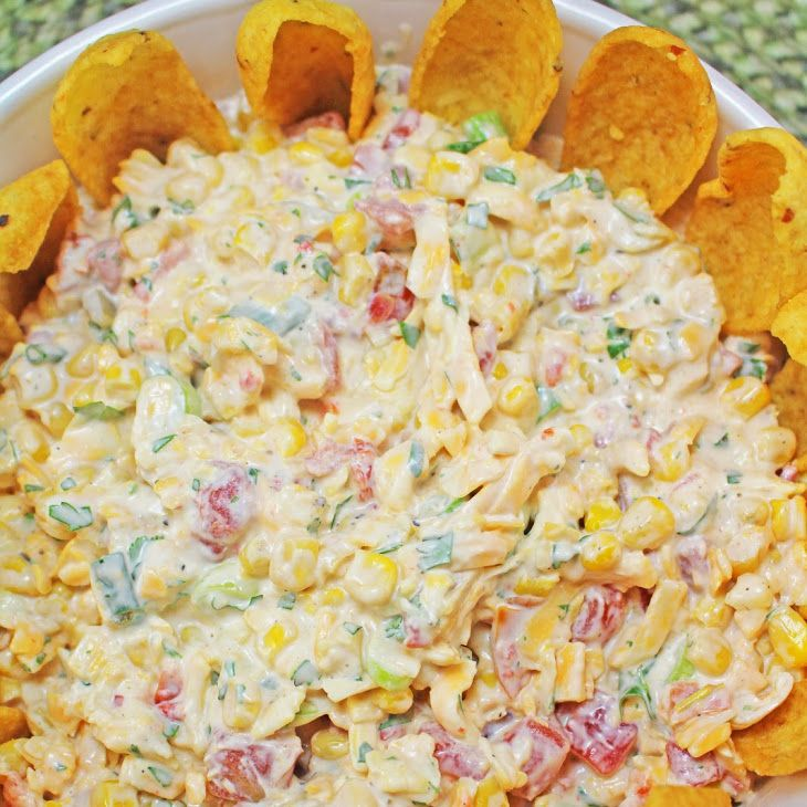 Cowboy Caviar Recipe Appetizers with corn, rotelle, cheddar cheese, green onions, mayonnaise, sour cream, chopped fresh cilantro, salt, pepper