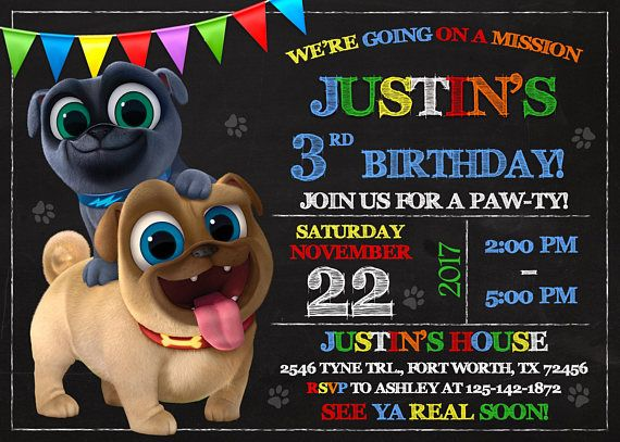 Puppy Dog Pals Invitation Puppy Dog Pals Birthday Puppy Dog Boy Birthday Parties Puppy Birthday Puppy Party