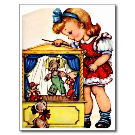 """Het Spelen van het meisje - Retro Gelukkige Briefkaart van de Verjaardag De vintage Retro Kaarten van de Verjaardag voor alle leeftijden.   De grappige, Leuke, Gelukkige Kaarten van de Verjaardag voor kinderen, meisjes en jongens, mamma's en dads, grootmoeder en grootvader, broers en zusters, tantes en ooms, neven… en voor vrienden.  Alle kaarten zijn hersteld, de hersteld de smetten, vlekken en de scheur. Personaliseer als u door te gebruiken """"aanpast het"""" knoop dit wenst. Wij hopen u van…"""