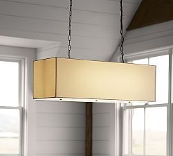 Lighting Sale | Pottery Barn Linen Rectangular Pendant.  Would love this over a dining room table.