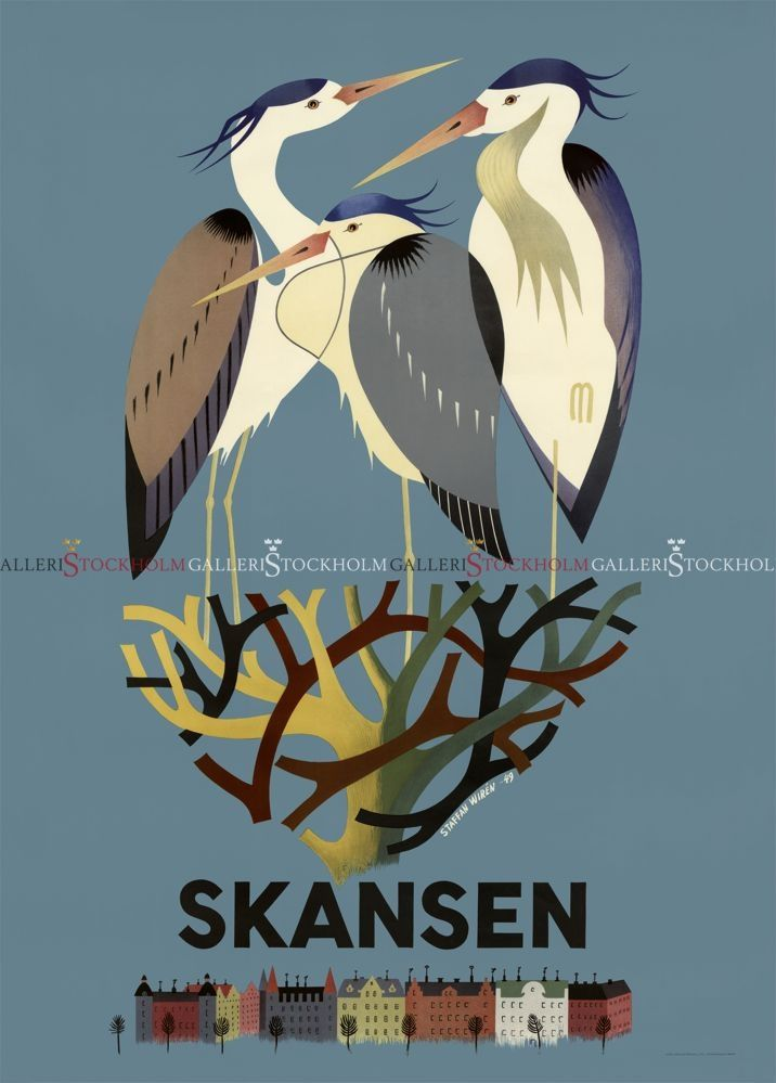 Staffan Wirén - Affischer Retro - Hägrar på Skansen