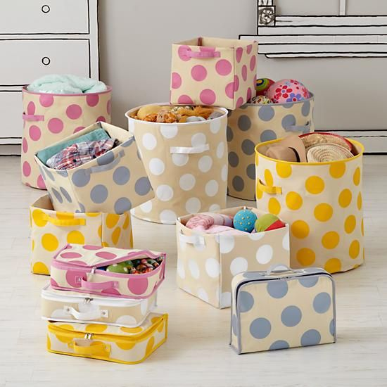 The Land of Nod | Kids Storage: Polka Dotted Storage Collection in Storage Collections
