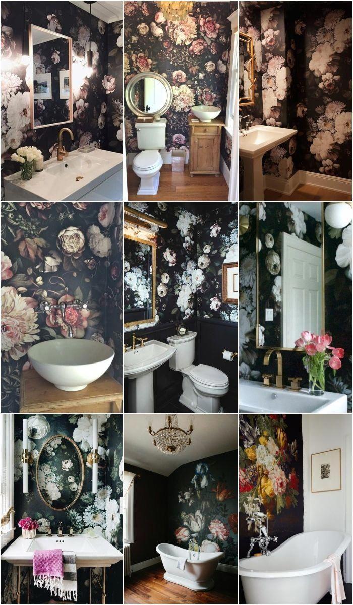 Bathroom Floral Dark Wallpaper Mural Bathroomwallpaper Wallpaper Accent Wall Bathroom Floral Bathroom Floral Bedroom