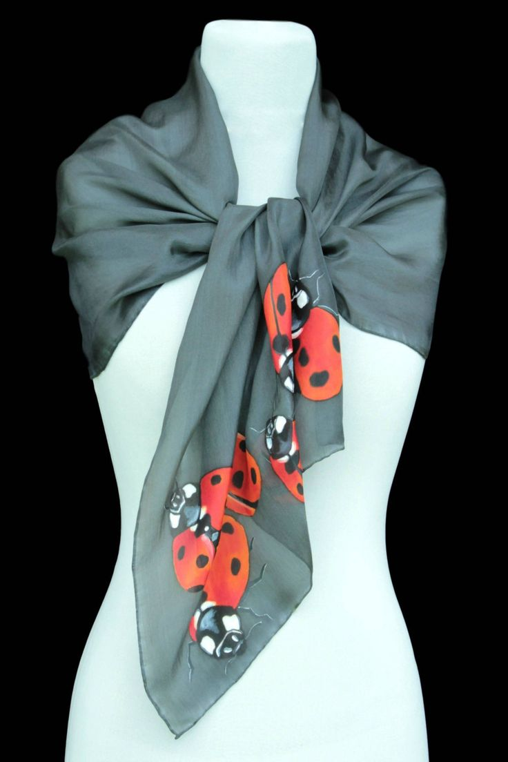 Hand painted silk scarf-Ladybird,grey,Painting,Hand painted,Painted scarf, silk scarf, gift for her,made to order by Aryonelle on Etsy