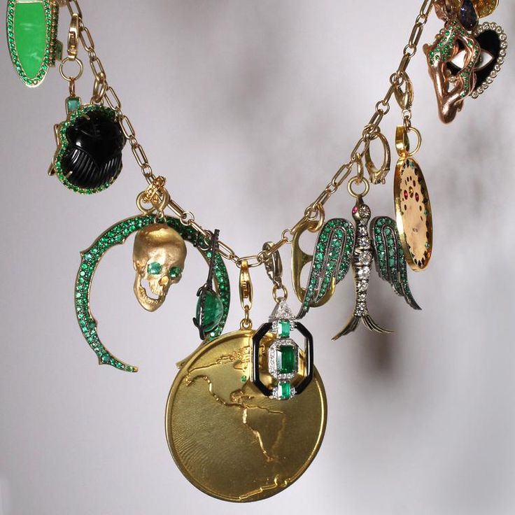 MusexGemfields charm necklace featuring emeralds and multi-coloured gemstones. http://www.thejewelleryeditor.com/jewellery/article/gemfields-x-muse-jewelry-collaboration-everyone-is-talking-about/ #jewelry