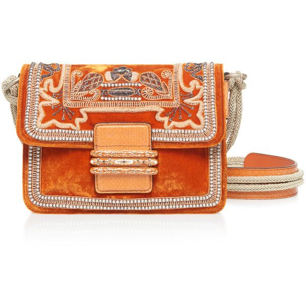Etro Embroidered Shoulder Bag ($2,325) ❤ liked on Polyvore featuring bags, handbags, shoulder bags, orange, foldover handbags, embroidered purse, fold over purse, foldover purse and orange handbags