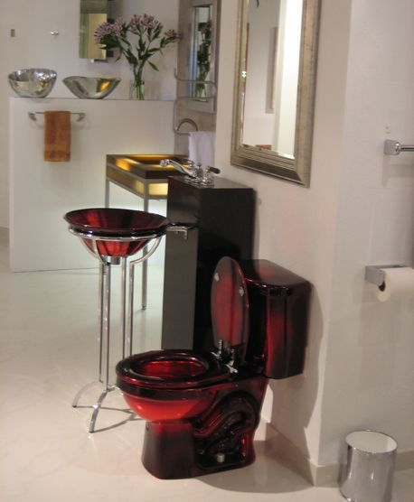 159 best images about cool bathrooms on pinterest for Bathroom designs red and black