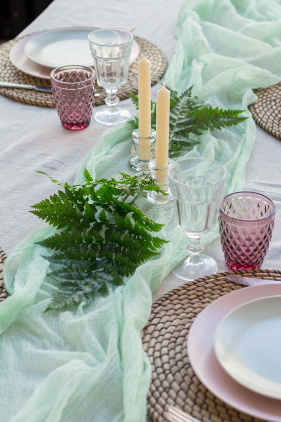 Mint Green Wedding Gauze Table Runner Cheesecloth Table Etsy