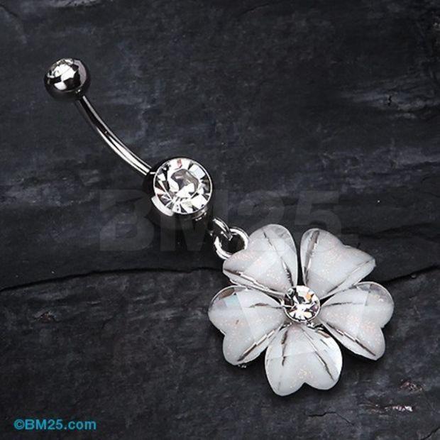 $9.95 Shimmering Flower Heart Petal Dangle Belly Ring