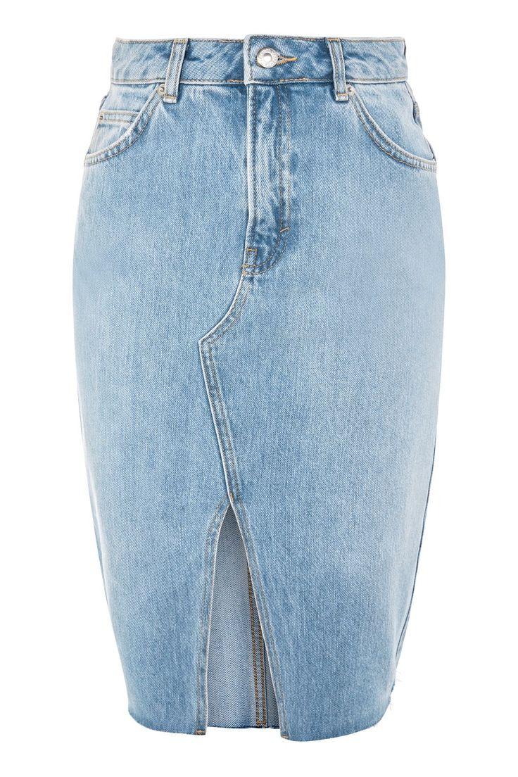 MOTO Denim Midi Skirt