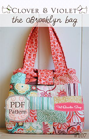 I'm definately going to attempt this super cute bag! - The Brooklyn Bag Downloadable PDF Pattern