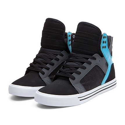 SUPRA SKYTOP Shoe | BLACK / GREY / TURQ - WHITE | Official SUPRA Footwear  Site
