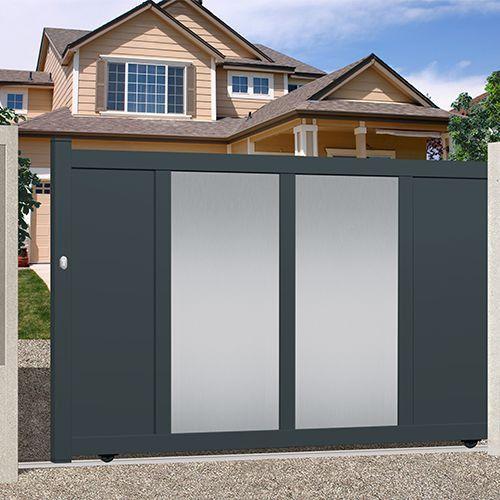 52 best portails aluminium 2 battants images on pinterest budget carpentry and garages for Portail alu blanc coulissant